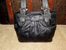 COACH Purse F15045 Soho Pleated Tote Handbag Black Leather Authentic Bag 2011
