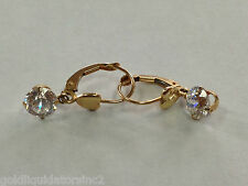 Excellent 14K  Gold Clip On CZ Earrings Very Cute!