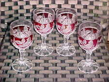 "Gorgeous 4 HOFBAUER BYRDE Ruby Red Crystal 6 3/4"" GOBLETS Excellent Condition!"
