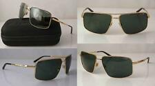 ARNETTE BACON AVIATOR SUNGLASSES POLISHED GOLD METAL FRAME GREY-GREEN LENS NEW