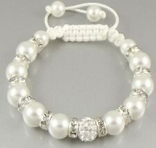 10pcs/lot 10mm free shipping hot white ab clay pearl crystal shamballa bracelet