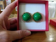 Brand new huge gold look clip-on or pierced earrings with a large green stone