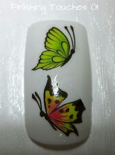 Nail Art Water Transfer- Matte Green Orange Butterfly Decal #401 M58 Sticker