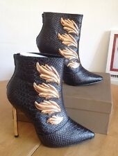 Privileged Shoes Ankle Boot Animal Print With Gold Heel & Decor Size UK 6 New