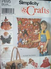 "SEWING PATTERN SIMPLICITY CRAFTS APRON, BAG,CLOTHES FOR 9"" BEAN BAG ANIMALS"