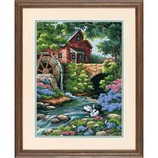 Dimensioni d02484 14 maglie stampate Canvas Old Mill Cottage Tapestry Kit 30 x 41cm