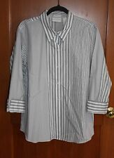 LIZ CLAIBORNE non-iron 3/4 cuffed sleeve gray & white stripe shirt size 16