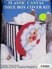Santa Face Plastic Canvas Tissue Box Cover  Kit - NEW from Design Works