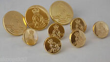 ROYAL MILITARY COLLEGE BUTTON SET 3 LARGE AND 6 SMALL GOLD PLATED WITH RMC BADGE