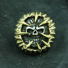 Gold Brass Angry Skull 925 Sterling Silver Biker Rocker Concho Wallet Snap bc-09