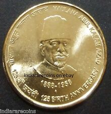 India Inde Indien Journalist Maulana Abul Kalam Azad UNC New 2013 Brass 5 Rs