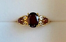 Three Stone Garnet Ring in 14K Yellow Gold - Size 5.75