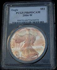 2004 W $1 Silver Eagle PCGS PR69 ( Beautifully Toned ) ASE Proof Coin Bullion
