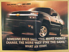 2001 chevy AVALANCHE chevrolet suv-pickup truck photo print Ad