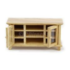 Dollhouse Minature Furniture Wooden TV Cabinet Stand Bench Natural Finish