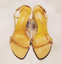 Womens - PRADA - Yellow Leather Strappy Sandals Kitten Heel Sandals Shoes 6 36.5