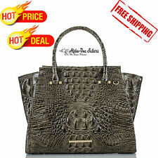 BRAHMIN Priscilla Satchel Bag in Gray Forest  Croco-Embossed Leather Retail 385$