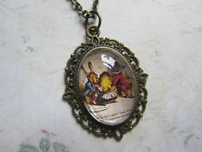 Bronze Alice in Wonderland Mad Hatter Tea Party Glass Necklace New in Gift Bag