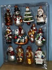 12 MERCURY GLASS HAND-PAINTED X-MAS TREE ORNAMENTS MINT IN THE ORIGINAL PACKAGE