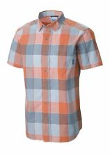 Columbia - Mens S - Thompson Hill II Orange/Gray Plaid S/S Cotton Pocket Shirt