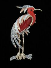 LOVELY STORK BIRD BROOCH PIN LUCITE BELLY RHINESTONE & ENAMEL ACCENTS Figural
