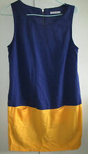 Ladies Hot Options Size 10 Blue Yellow Summer Dress Sleeveless