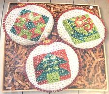 """""""Quilt Blocks"""" kit makes 3 Ornaments Sequin Beads Christmas Craft"""