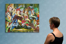 """47"""" -- CUBIST KING's  PARTY -------  original painting oil on canvas by  MIU !!!"""