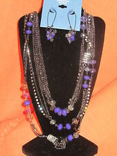 SIMPLY VERA WANG NWT $62  necklace and earrings women's set long purple disco