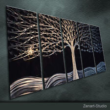 Modern Abstract Metal Wall Art Original Black-Silver Indoor-Outdoor Decor-Zenart