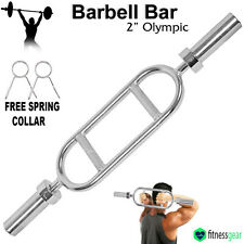 Olympic Triceps Barbell Gym Bar Chrome Spring Collar Curl Weight Lifting Set