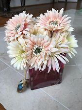 NDI Floral Assorted Gerber Daisies In Pink Cube Vase with Acrylic Water