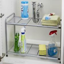 KITCHEN RACK ORGANISER ADJUSTABLE REMOVEABLE UNDER SINK STORAGE TIDY SHELF UNIT