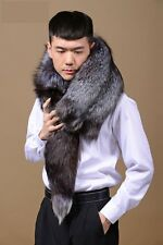 Men's Fashion Real WHOLE Silver Fox Fur Shawl Cape Wrap Scarf Shawl Vest Scarve