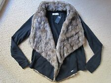WOMENS HOLLISTER BLACK LONG SLEEVE FAUX FUR SWEATER COVER UP JACKET COAT SMALL