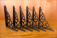 6 BROWN ANTIQUE-STYLE CAST IRON SHELF BRACKETS CLASSIC braces wall rustic barn