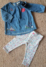 BNWT Next Baby Girls Long Sleeved Denim Tunic Dress & Ditsy Floral Leggings 3-6