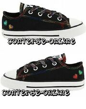 Infants Girls CONVERSE All Star BLACK MULTI HEARTS OX Trainers Shoe 21 SIZE UK 5