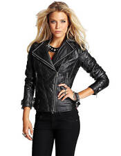 NEW GUESS BLACK QUILTED FAUX LEATHER MADRID MOTO JACKET SZ L LARGE