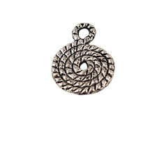 30Pcs Tibetan Silver Charms Silver Rope Pendants Jewelry Findings 14x10mm