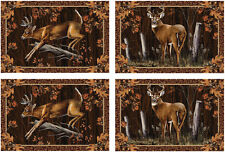 NWT 4 Piece Country, Wildlife Deer Buck Jacquard Placemat Set
