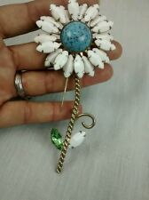 Runway statement vintage Weiss sunflower milk glass faux turquoise pin brooch