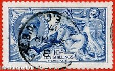 """SG. 411. Variety  N70 (5) 10/- Bright (""""Cambridge"""") blue. A very fine CDS used."""