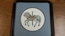 "Handmade Carousel Horse Cross Stitch Finished 13"" Square Framed & Matted"