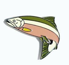 Metal Enamel Pin Badge Brooch Fish Salmon Fishing Angler Angling