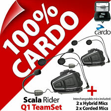 New Cardo Scala Rider Q1 TeamSet Bluetooth Motorcycle Helmet Intercom Headset