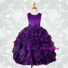 Dark Purple Satin Organza Dress Wedding Flower Girl Pageant Party Size 5 FG234