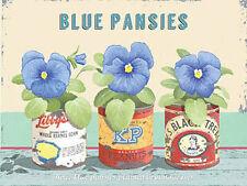 Azul Pensamientos,Vintage Flor Hogar Jardín Cocina Baño,Medio Metal/Estaño