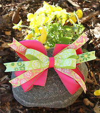 Personalized Embroidered Lime Green Pink Flowers Hair Bow for Girl's