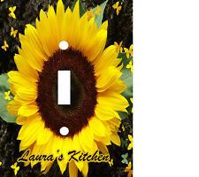 PERSONALIZED SUNFLOWER & YELLOW BUTTERFLIES LIGHT SWITCH PLATE COVER